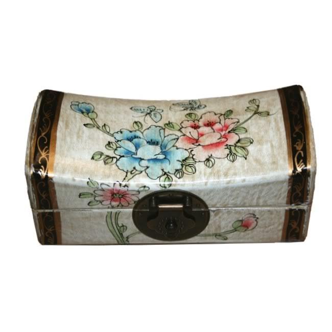 Creamy Medium Pillow Shape Jewellery Box - Open View