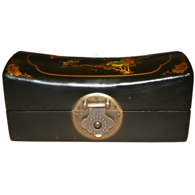 Black Small Pillow Shape Jewellery Box - Front View