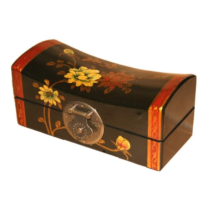 Black Small Pillow Shape Jewellery Box - Open View