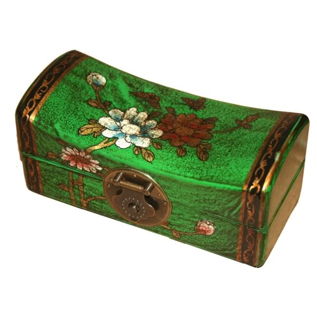 Green Small Pillow Shape Jewellery Box - Open View