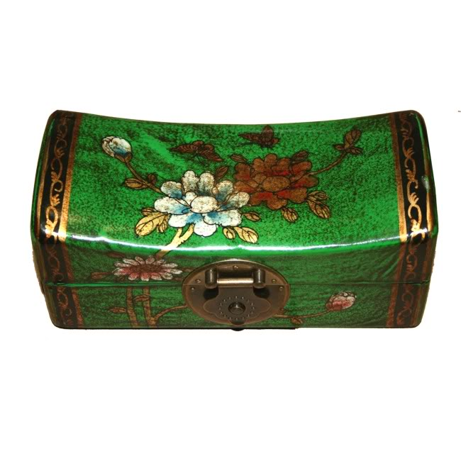 Green Small Pillow Shape Jewellery Box