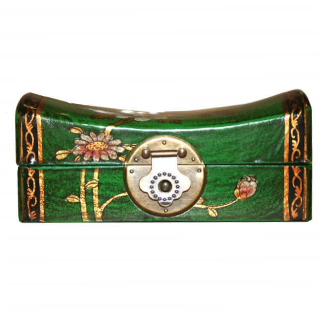 Green Small Pillow Shape Jewellery Box - Front View