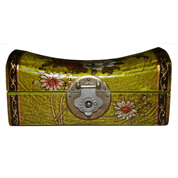 Light Green Small Pillow Shape Jewellery Box - Front View
