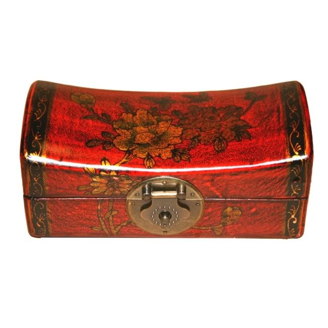 Red Small Pillow Shape Jewellery Box -Open View