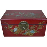 Medium Red Painted Case - Flower