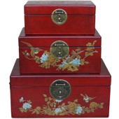 Red Painted Case Set - Flower and Birds