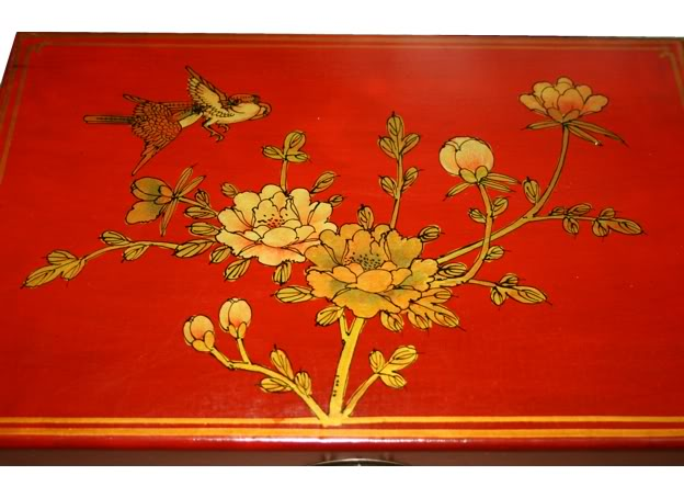 Large Red Leather Case - Flower - Top Detail