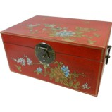 Large Red Painted Case - Flower and Birds