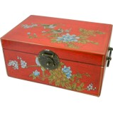 Medium Red Painted Case - Flower and Birds