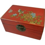 Small Red Painted Case - Flower and Birds