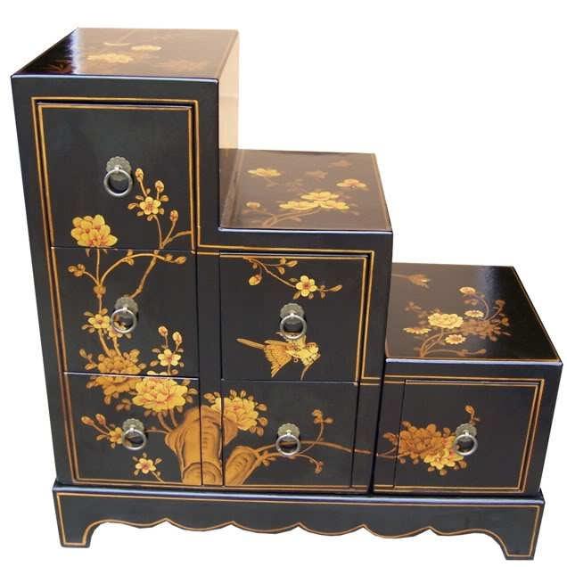 Black Six Drawers Step Chest
