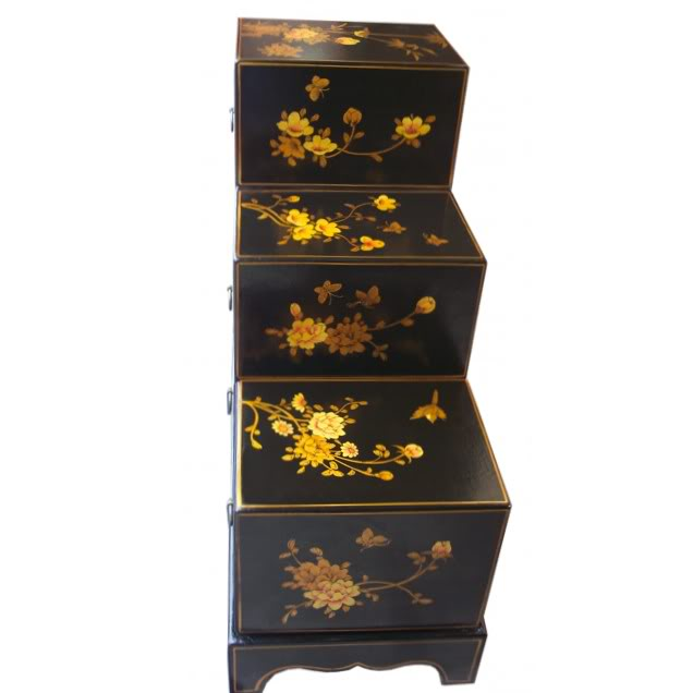 Black Six Drawers Step Chest - Side View