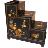 Black Six-Drawer Step Chest