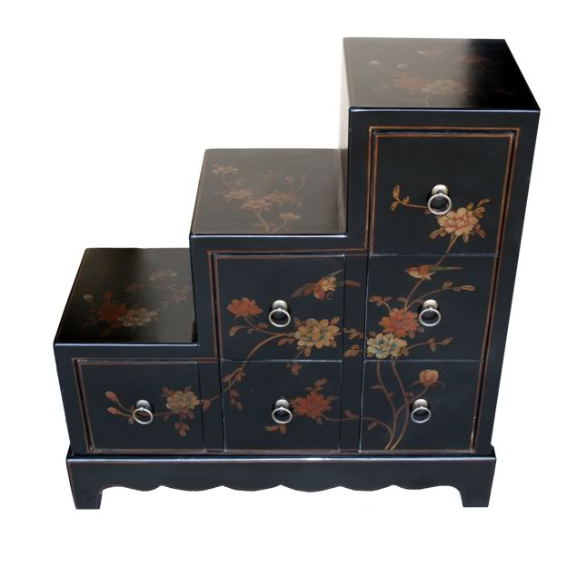Black Six Drawers Step Chest - Front View