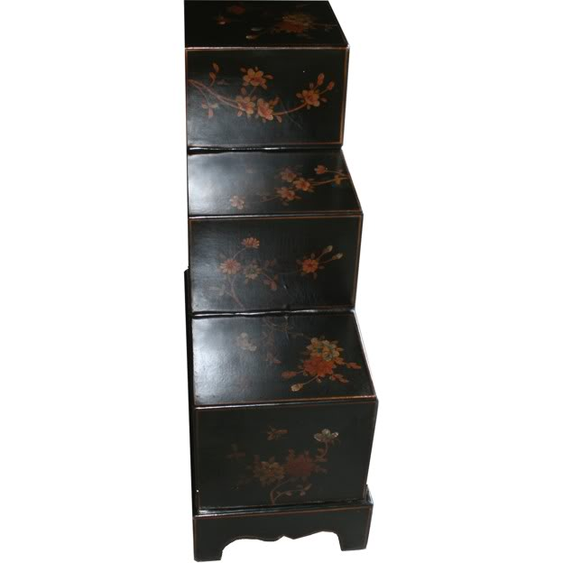 Black Six Drawers Step Chest -Side View