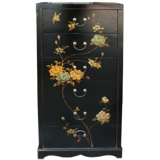 Large Black Painted Chinese Chest of Drawers