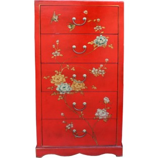 Large Red Painted Chest of 5 Drawers