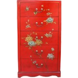 Red Painted Chest of 5 Drawers
