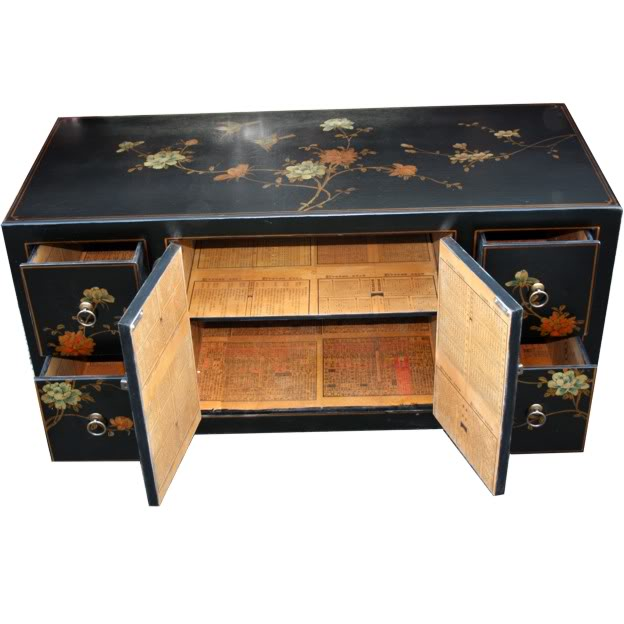 Black Leather TV Cabinet - Open View