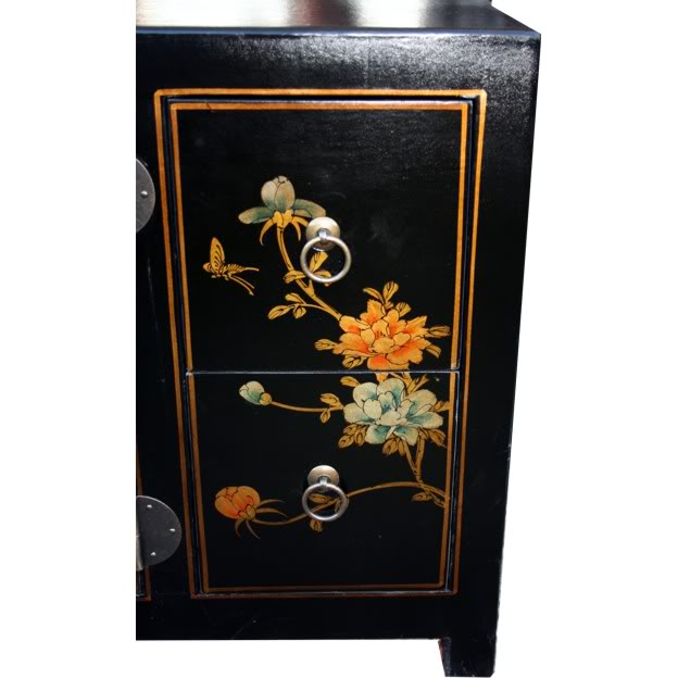 Black Leather TV Cabinet -Drawer