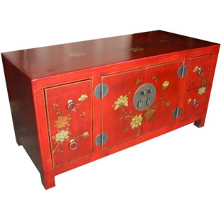 Oriental Red Painted Low TV Cabinet