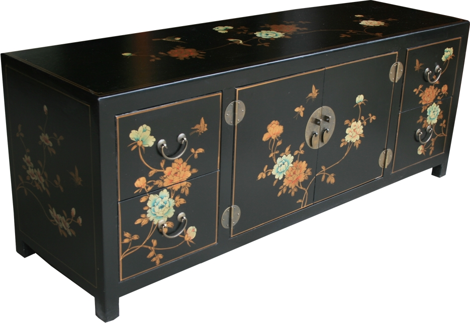 Chinese TV Cabinet Black Flora Painted