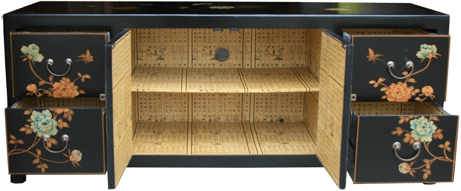 Chinese TV Cabinet Black Flora Painted Open