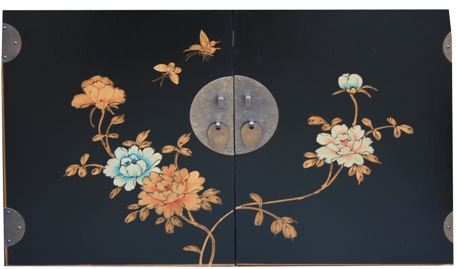Chinese TV Cabinet Black Flora Painted Detail