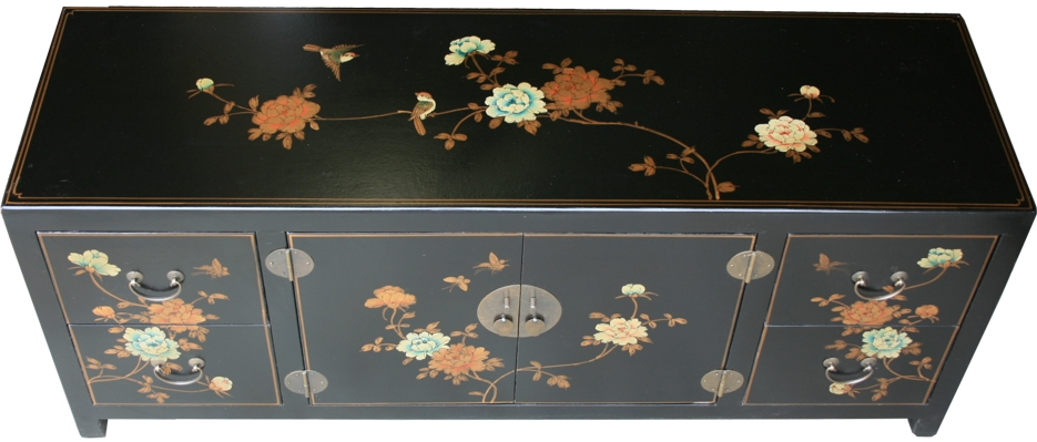Chinese TV Cabinet Black Flora Painted Top