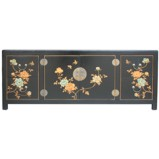 Large Black Painted Low TV Cabinet