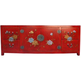 Large Red Painted Low TV Cabinet