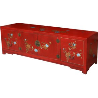 Long Red Painted Low TV Cabinet