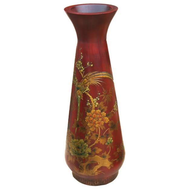 Red Painted Leather Vase