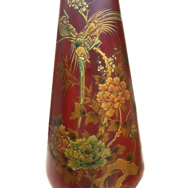 Red Painted Leather Vase -Detail 1