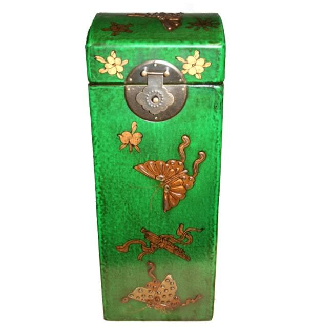 Green Leather Wine Box