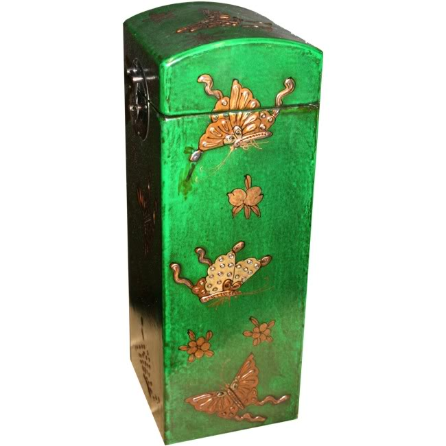 Green Leather Wine Box - Side View