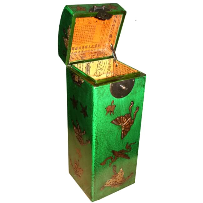 Green Leather Wine Box - Open View