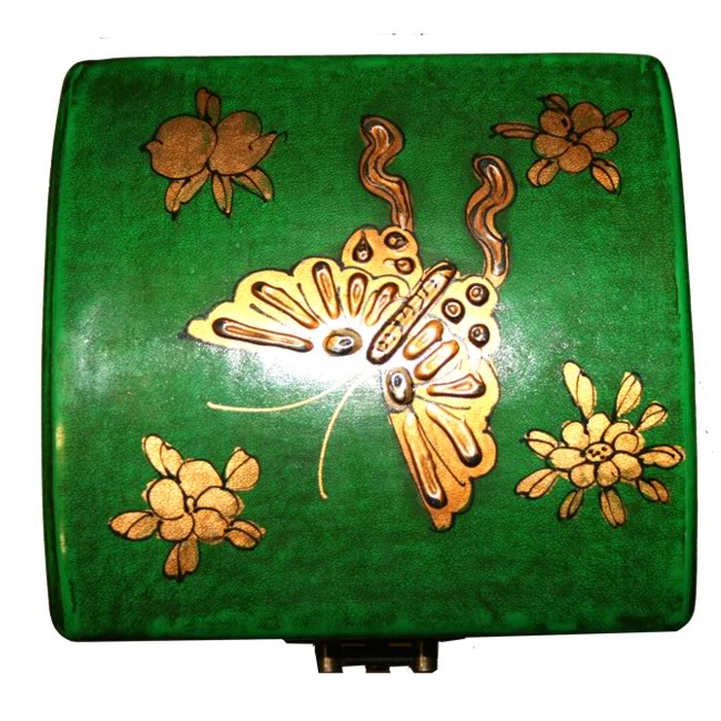Green Leather Wine Box -Top