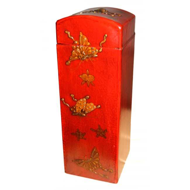 Red Leather Wine Box - Side View