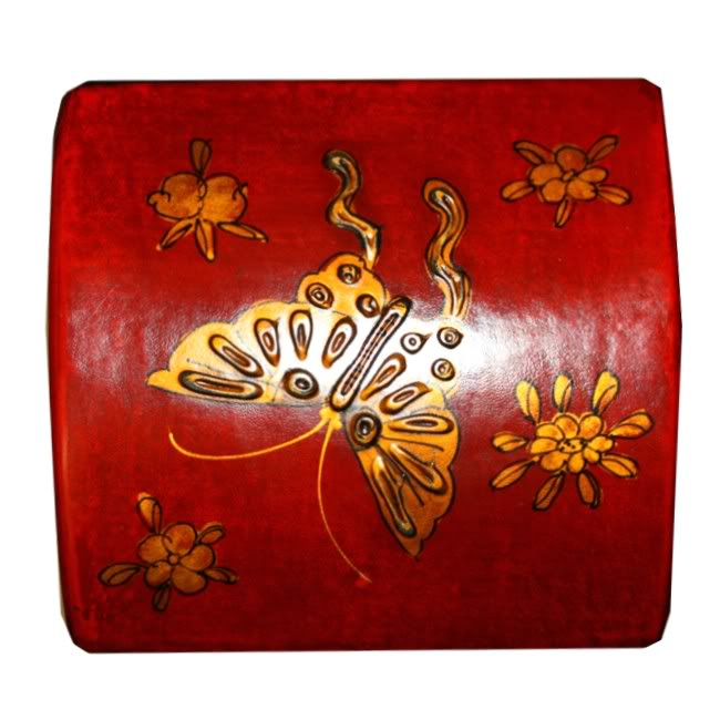 Red Leather Wine Box - Top