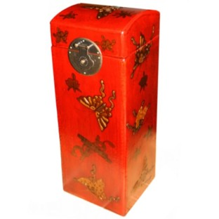 Red Butterflies Wine Box