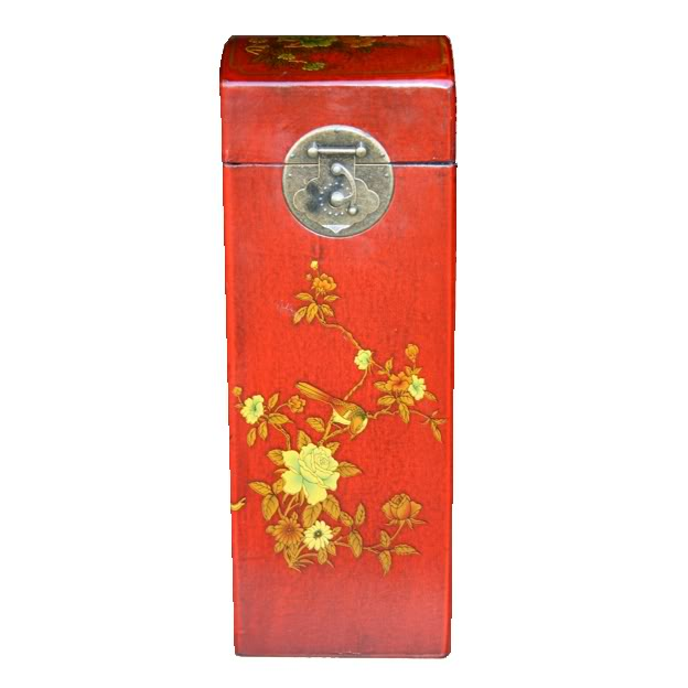 Red Leather Wine Box - Front View