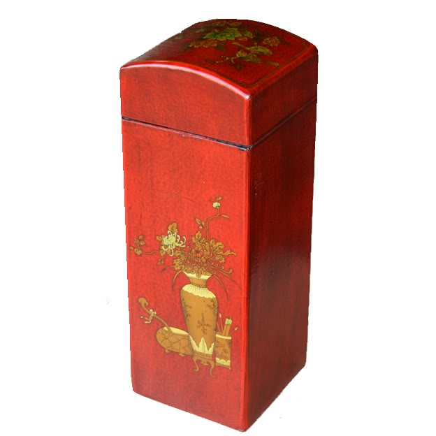 Red Leather Wine Box - Back View