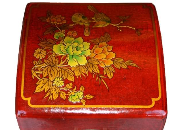 Red Leather Wine Box - Top Detail