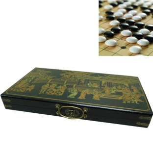 GO Weiqi Baduk Game Set in Black Oriental Painted Case