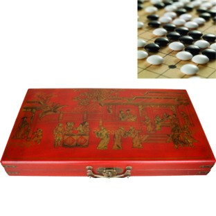Red GO Weiqi Baduk Game Set in Oriental Painted Case