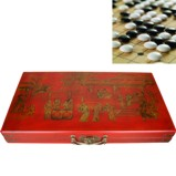 Large Red GO Weiqi Baduk Game Set in Oriental Painted Case