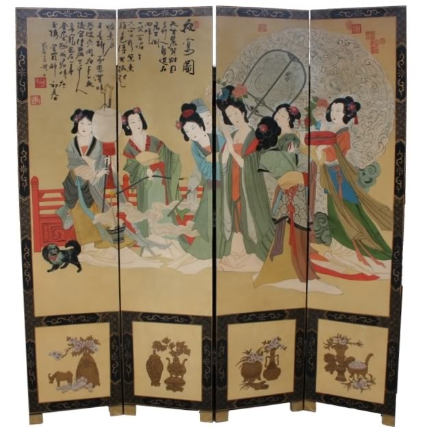 Chinese Imperial Evening Festival Room Divider Screen