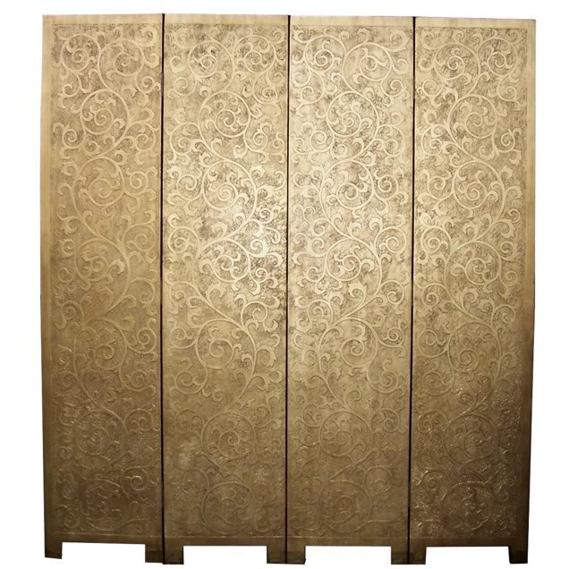 French Style Floral Gold Coromandel Room Divider Screen