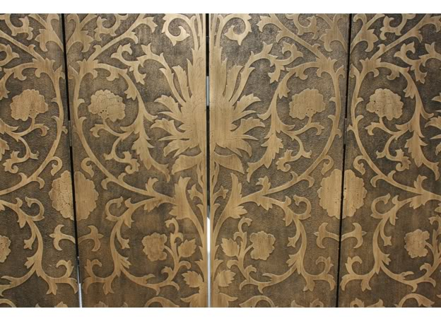French Gold Screen / Room Divider - Sun Flowers- Detail 1